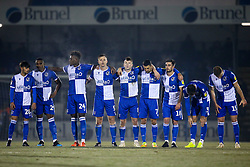 Bristol Rovers line up for the penalty shootout - Mandatory by-line: Robbie Stephenson/JMP - 04/12/2019 - FOOTBALL - Memorial Stadium - Bristol, England - Bristol Rovers v Leyton Orient - Leasing.com Trophy