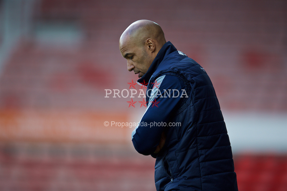 WREXHAM, WALES - Monday, May 2, 2016: Airbus UK Broughton's manager Andy Preece during the 129th Welsh Cup Final against The New Saints at the Racecourse Ground. (Pic by David Rawcliffe/Propaganda)