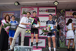 Tiffany Cromwell (AUS) of CANYON//SRAM Racing celebrates her win of the Giro Rosa 2016 - Stage 4. A 98.6 km road race from Costa Volpino to Lovere, Italy on July 5th 2016.