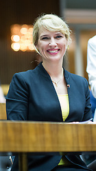 29.10.2013, Parlament, Wien, AUT, Parlament, 1. Nationalratssitzung, Konstituierende Sitzung des Nationalrates mit Angelobung der Abgeordneten. im Bild Klubobfrau Team Stronach Kathrin Nachbaur // Leader of the Parliamentary Group Team Stronach Kathrin Nachbaur during the 1st meeting of the national assembly of austria, austrian parliament, Vienna, Austria on 2013/10/29, EXPA Pictures © 2013, PhotoCredit: EXPA/ Michael Gruber