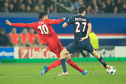12.03.2014, Parc des Princes, Paris, FRA, UEFA CL, Paris Saint Germain vs Bayer 04 Leverkusen, Achtelfinale, Rueckspiel, im Bild Emre Can #10 (Bayer 04 Leverkusen) im Zweikampf gegen / tackling against Javier Pastore (FC Paris Saint-Germain #27), Aktion, Action // during the UEFA Champions League Round of 16, 2nd Leg match between Paris Saint Germain and Bayer 04 Leverkusen at the Parc des Princes in Paris, France on 2014/03/12. EXPA Pictures © 2014, PhotoCredit: EXPA/ Eibner-Pressefoto/ Schueler<br /> <br /> *****ATTENTION - OUT of GER*****