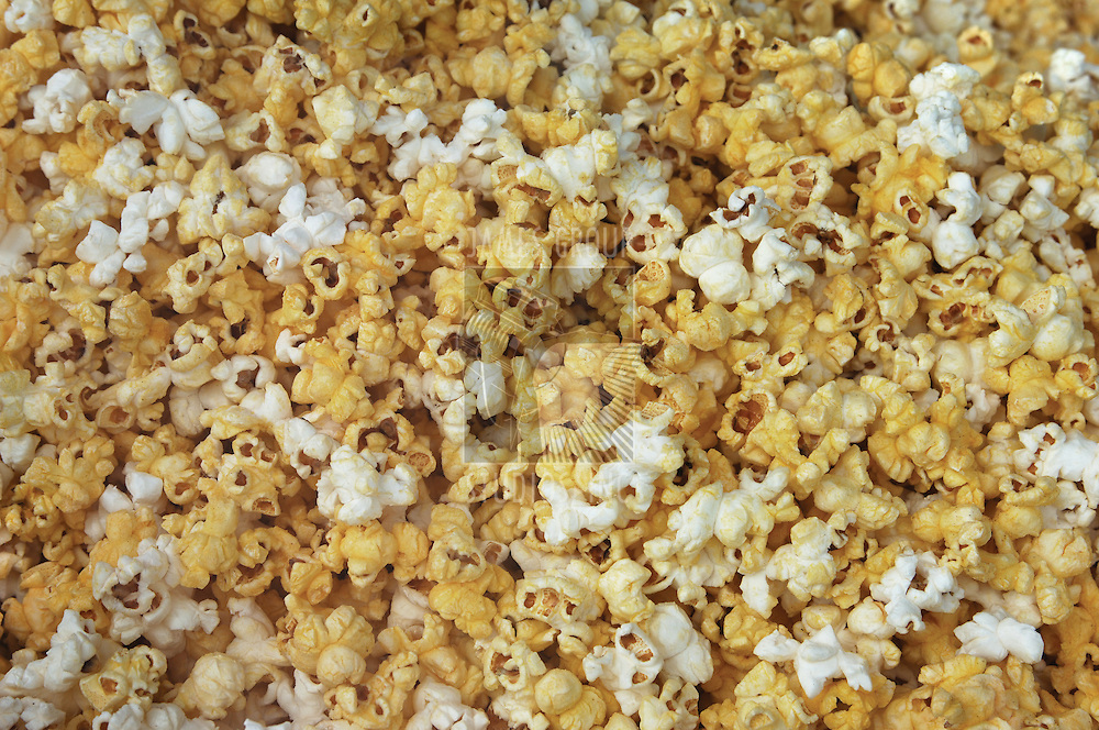 popcorn background showing plain and buttered popped kernels