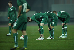 Slovenian national team during the UEFA Friendly match between national teams of Slovenia and Denmark at the Stadium on February 6, 2008 in Nova Gorica, Slovenia.  Slovenia lost 2:1. (Photo by Vid Ponikvar / Sportal Images).