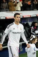 Real Madrid´s Cristiano Ronaldo wears a t-shirt against violence in stadiums during La Liga match between Real Madrid and Celta de Vigo at Santiago Bernabeu stadium in Madrid, Spain. December 06, 2014. (ALTERPHOTOS/Victor Blanco)