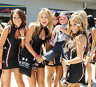 A young fan gets a lift from the grid girls during the A1 GP Official Practice, Taupo, New Zealand, Saturday 24 January 2009.Photo: John Cowpland/PHOTOSPORT........