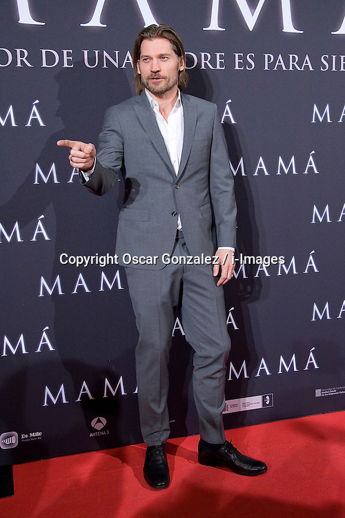 "The lead actor Nikolaj Coster-Waldau in Madrid attends the premiere for the film ""MAMA"" SPAIN (MADRID), February 4, 2013. Photo by Oscar Gonzalez / i-Images...SPAIN OUT"