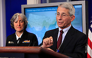 Dr. Anthony Fauci, Director of NIH/NIAID, and Dr. Anne Schuchat, Principal Deputy Director of the CDC make a statement and answer questions on the Zika Virus prevention at the daily White House press briefing on April 10, 2016.<br /> Photo by Dennis Brack