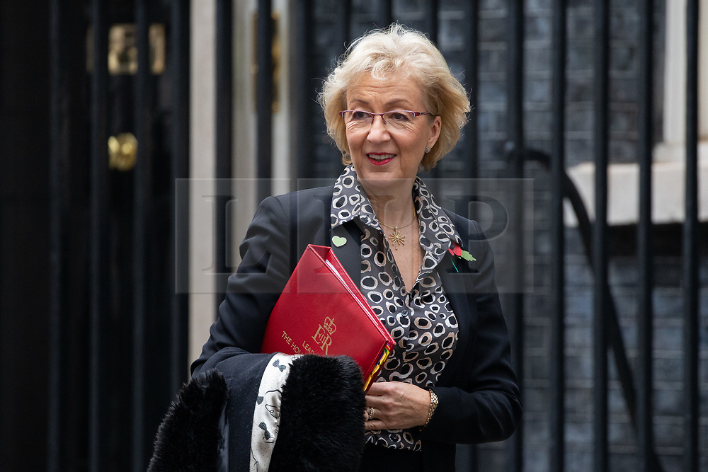 © Licensed to London News Pictures. 06/11/2018. London, UK. Leader of the House of Commons Andrea Leadsom leaving 10 Downing Street after attending a Cabinet meeting this morning. Photo credit : Tom Nicholson/LNP