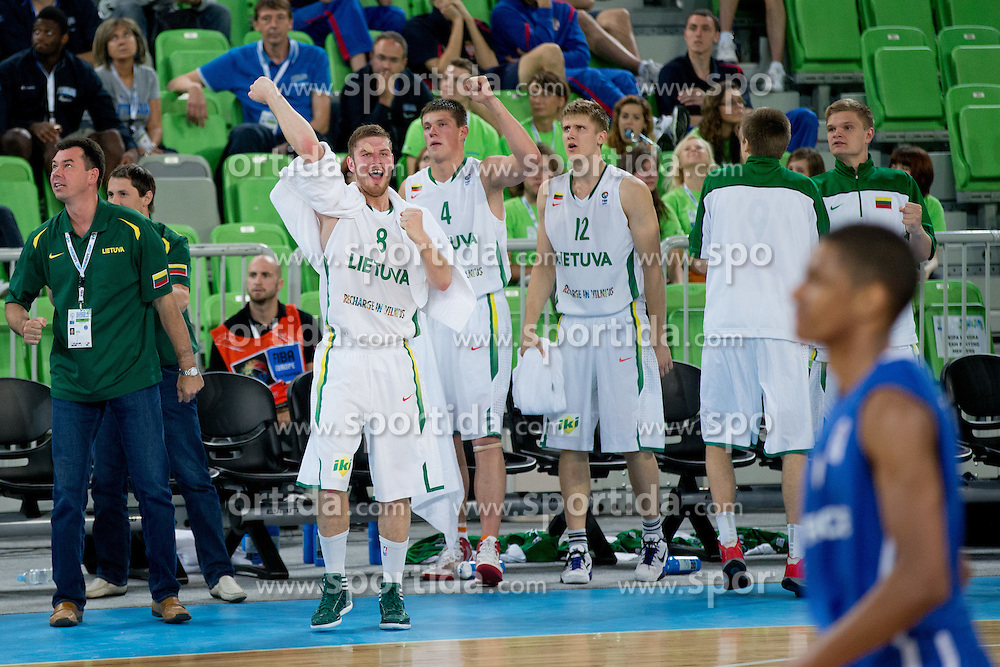 Players of Lithuania celebrate during basketball match between National teams of Lithuania and France in Final match of U20 Men European Championship Slovenia 2012, on July 22, 2012 in SRC Stozice, Ljubljana, Slovenia. Lithuania defeated France 50:49 and become European champions. (Photo by Matic Klansek Velej / Sportida.com)