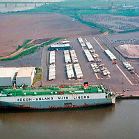Aerial view of Hoegh Upland Ship docked at the Port of Wilmington, Delaware