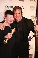 Costume designer Joan Bergin and actor Moe Dunford at the IFTA Film & Drama Awards (The Irish Film & Television Academy) at the Mansion House in Dublin, Ireland, Saturday 9th April 2016. Photographer: Doreen Kennedy