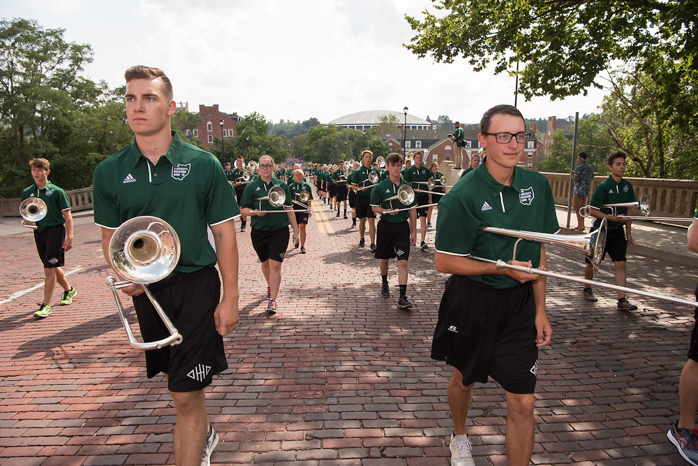The Marching 110 leads first year student to College Green for the Campus Involvement Fair. Photo By Ben Siegel