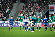 Geoffrey Palis (FRA) missed to catch the ball and been catched by Jonathan Sexton (IRL) during the NatWest 6 Nations 2018 rugby union match between France and Ireland on February 3, 2018 at Stade de France in Saint-Denis, France - Photo Stephane Allaman / ProSportsImages / DPPI