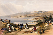 Sidon, looking towards Lebanon. Coloured lithograph by Louis Haghe after David Roberts, 1843.