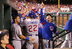September 27, 2017 - St. Louis, MO, USA - The Chicago Cubs' Jason Heyward (22) celebrates in the dugout after he scored on a double by Tommy La Stella in the seventh inning against the St. Louis Cardinals at Busch Stadium in St. Louis on Wednesday, Sept., 27, 2017. The Cubs won, 5-1. (Credit Image: © Nuccio Dinuzzo/TNS via ZUMA Wire)