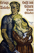 World War I 1914-1918. German poster for subscribers to War Loan bonds, 1918.  Blond man holding a sword with his left arm around his blond wife and baby. Text reads 'War loans help the guardians of your happiness'.