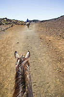 View from the perspective of a person riding a horse down the Sliding Sands Trail into the Haleakala Crater in Haleakala National Park, Maui, Hawaii.