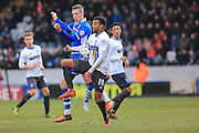 Tom Soares, Jim McNulty during the Sky Bet League 1 match between Rochdale and Bury at Spotland, Rochdale, England on 12 March 2016. Photo by Daniel Youngs.