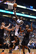 Mar 17, 2017; Phoenix, AZ, USA; Orlando Magic forward Jeff Green (34) drives to the basket against Phoenix Suns defense in the first half of the NBA game at Talking Stick Resort Arena. Mandatory Credit: Jennifer Stewart-USA TODAY Sports