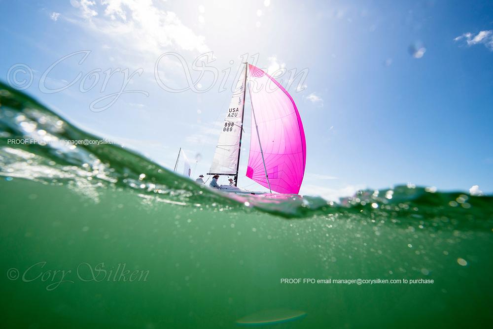 898 J70 Class sailing at Bacardi Miami Sailing Week.