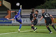 AFC Wimbledon attacker Adam Roscrow (10) with an overhead kick during the EFL Trophy (Leasing.com) match between AFC Wimbledon and U23 Brighton and Hove Albion at the Cherry Red Records Stadium, Kingston, England on 3 September 2019.