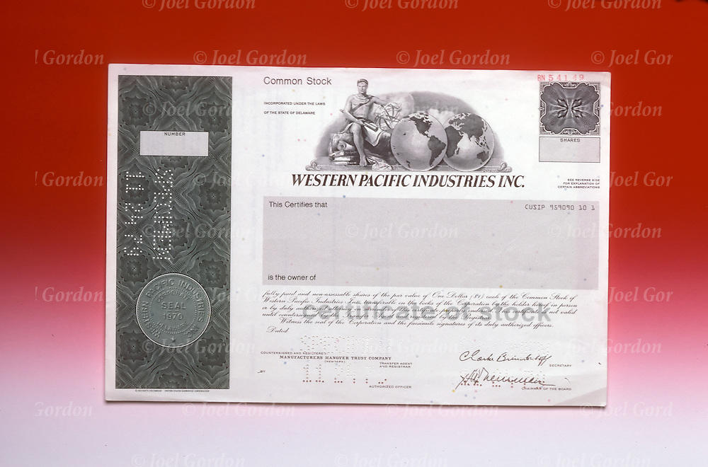 Financial studio still life of Western Pacific Industries Inc Stock Certificate