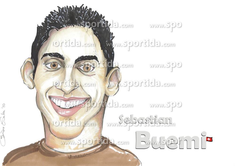 FORMEL 1: Saison 2010, Karrikatur von<br /> Sebasien BUEMI (SUI, Toro Rosso)<br /> &Atilde;'&Acirc;&copy; pixathlon