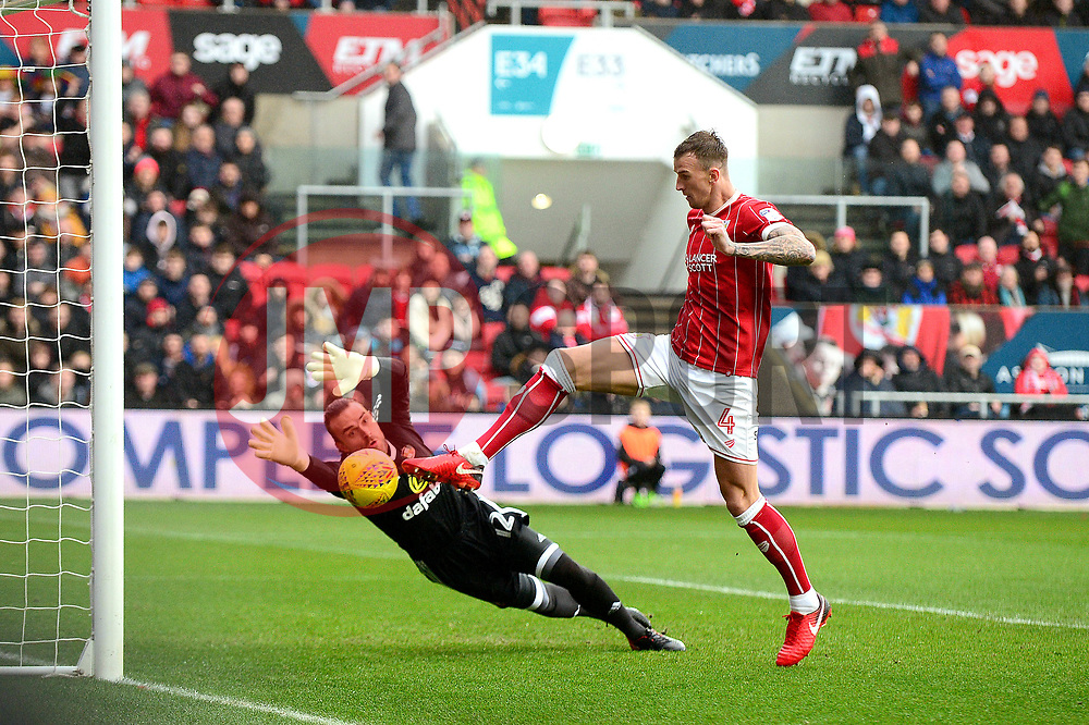 Aden Flint of Bristol City scores the opening goal of the game - Mandatory by-line: Dougie Allward/JMP - 10/02/2018 - FOOTBALL - Ashton Gate Stadium - Bristol, England - Bristol City v Sunderland - Sky Bet Championship