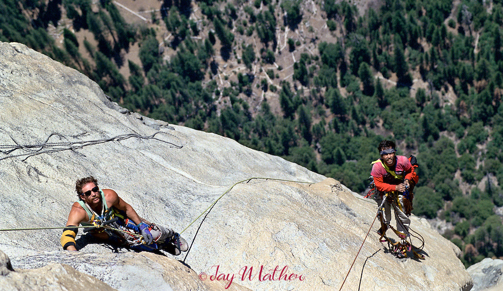 Mike Corbett and climbing partner Mark Wellman top out on El Capitan.  Wellman became the first physically disabled climber to ascend the 3000' granite monolith in July 1989.