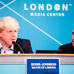 London, UK - 9 August 2012: Mayor Boris Johnson (L) speaks during the Press Conference 'Delivering a lasting legacy from the London 2012 Games' at the London Media Centre.