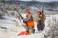 Chinese student Li Haoxin (Luke) hunts for deer and elk with his friend and roommate, Jack Crowley, near Alder, Montana.