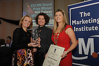 Marilyn Reddan, Recruit Direct presenting Barbara Anne Richardson Biomedical Research (Slendertone) with her International Sales & Marketing Award, and Chariperson of the Marketing Institute Emma Dillon Leetch, during the Marketing Institute of Ireland West Region's Annual Awards at a gala awards attended by over 160 people in the Radisson Blu Hotel, Galway .  Photo:Andrew Downes.