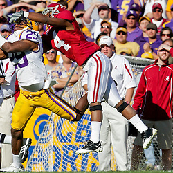 08 November 2008: LSU defensive back Chris Hawkins (29) breaks up a pass intended for Alabama wide receiver Marquis Maze (4) during the Alabama Crimson Tide SEC West game against the LSU Tigers at Tiger Stadium in Baton Rouge, LA.