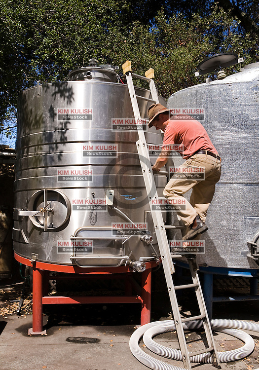 Winemaker Kent Fortner, of Road 31 Wine Company, monitors the the juice from the crush of his Pinot Noir wine grapes.  The grapes were harvested from the Carneros District, a cool, wind-swept region that borders the San Pablo Bay and marks the entrance to both Napa and Sonoma valleys. Photo by Kim Kulish