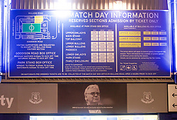 LIVERPOOL, ENGLAND - Tuesday, October 27, 2015: A photograph of Everton's chairman and owner Bill Kenwright underneath the ticket prices for Goodison Park before the Football League Cup 4th Round match against Norwich City at Goodison Park. (Pic by David Rawcliffe/Propaganda)