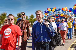 Peter Tatchell participates in the Kent Pride celebrations in the seaside town of Margate to celebrate Kent Pride.<br /> <br /> Alamy Live News/Photographer: Gordon Scammell
