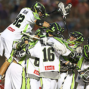 Members of the New York Lizards celebrate their overtime win following a goal from JoJo Marasco #1 of the New York Lizards during the game at Harvard Stadium on July 19, 2014 in Boston, Massachusetts. (Photo by Elan Kawesch)