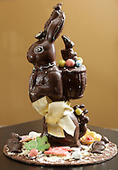 A chocolate bunnyat Jean-Claude's Artisian Bakery and Dessert Cafe in Warwick.