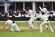 Alastair Cook of Essex batting with Somerset fielders close in during the Specsavers County Champ Div 1 match between Somerset County Cricket Club and Essex County Cricket Club at the Cooper Associates County Ground, Taunton, United Kingdom on 26 September 2019.