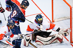 Goalie Roman Handl of Czech Republic with huge save at IIHF In-Line Hockey World Championships 2011 Top Division Gold medal game between National teams of Czech republic and USA on June 25, 2011, in Pardubice, Czech Republic. (Photo by Matic Klansek Velej / Sportida)