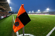 General view inside Rodney Parade stadium with the floodlights on as it gets dark before the The FA Cup match between Newport County and Middlesbrough at Rodney Parade, Newport, Wales on 5 February 2019.