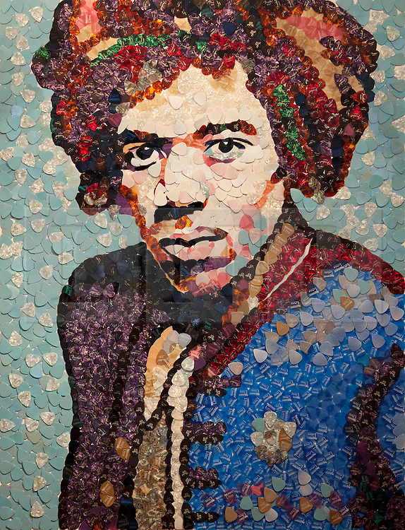 © Licensed to London News Pictures. 02/04/2013. London, UK. A portrait of Jimi Hendrix made from guitar plectrums by Manchester based mosaic artist Ed Chapman is seen seen in a pop-up shop set up to celebrate a new album by the late guitar legend in London today (02/04/2013). The shop, called 'People, Hell and Angels' 'located near London's Carnaby Street, runs from the 1st of April until the 12th of April 2013 and features memorabilia, music and photographs of the guitarist and singer who died in 1970 of a drug overdose. Photo credit: Matt Cetti-Roberts/LNP