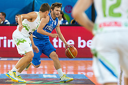 Marco Belinelli #10 of Italy and Jaka Lakovic of Slovenia during basketball match between national team of Slovenia and Italy of Eurobasket 2013 on September 12, 2013 in SRC Stozice, Ljubljana, Slovenia. (Photo By Matic Klansek Velej / Sportida.com)