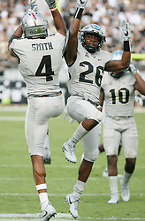 November 11, 2017 - Orlando, FL, USA - UCF players Tre'Quan Smith (4) and Otis Anderson (26) celebrate after a touchdown against UConn on Saturday, Nov. 11, 2017 at Spectrum Stadium in Orlando, Fla. (Credit Image: © Stephen M. Dowell/TNS via ZUMA Wire)