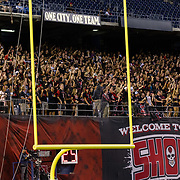 15 September 2018:  The San Diego State Aztecs student section cheers on the team taking the field prior to taking on the Arizona State Sun Devils. The Aztecs beat the Sun Devils 28-21 at SDCCU Stadium in San Diego, California.