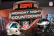 The sideline set of ESPN Monday Night Countdown features the helmets of the competing teams during the Philadelphia Eagles NFL week 12 football game against the Carolina Panthers on Monday, Nov. 26, 2012 in Philadelphia. The Panthers won the game 30-22. ©Paul Anthony Spinelli
