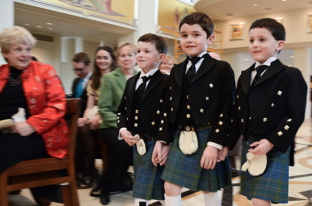 Brendan's nephews are crowd pleasers as they come up the isle in their matching kilts, Madonna della Strada Chapel, Loyola University Chicago
