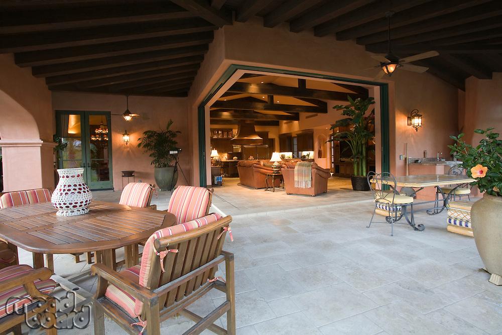Outdoor room of Palm Springs hacienda