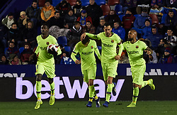 January 10, 2019 - Valencia, Valencia, Spain - FC Barcelona players celebrates a goal during the Spanish Copa del Rey match between Levante and Barcelona at Ciutat de Valencia Stadium on Jenuary 10, 2019 in Valencia, Spain. (Credit Image: © Maria Jose Segovia/NurPhoto via ZUMA Press)