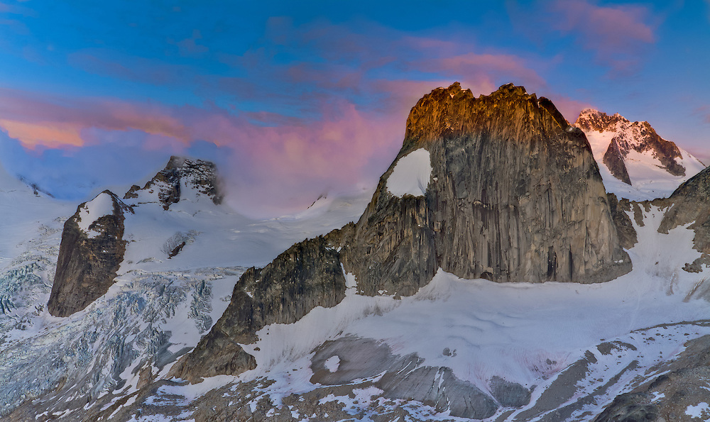 Sunrise from East Post Spire looking at Snow Patch Spire, Bugaboo Provincial Park, British Columbia, Canada.